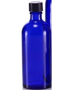 Blå plastflaske 100 ml.
