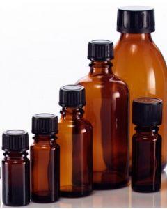 Brune glasflasker fåes i forskellig størrelse