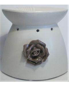 Duftlampe-sort-hvid rose