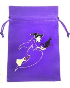 Stofpose i fløjl - Heks og kat