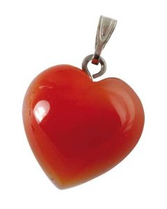 Karneol Hjerte vedhæng - 1,5x1,5 cm