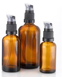 Brun glasflaske med lotionpumpe fåes i forskellig størrelse