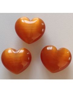 Hjerte Orange Cats Eye 3x2,5 cm